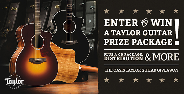 Win a Taylor guitar, a CD package, and more. The Oasis Taylor Guitar Giveaway